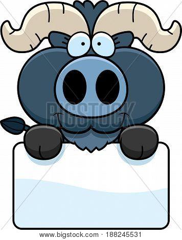 Cartoon Little Blue Ox Sign