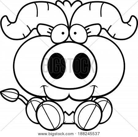 Cartoon Little Ox Sitting