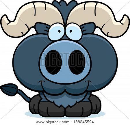 Cartoon Little Blue Ox Smiling