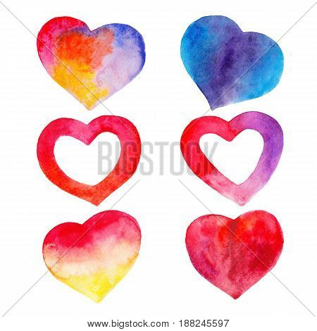 The color set of hearts for Valentines day isolated on white background watercolor illustration in hand-drawn style.