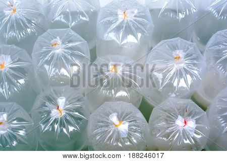 air in plastic bag bundle Plastic band pattern background