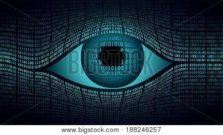 Big brother electronic eye concept, technologies for the global surveillance, security of computer systems and networks, computer digital technology global surveillance