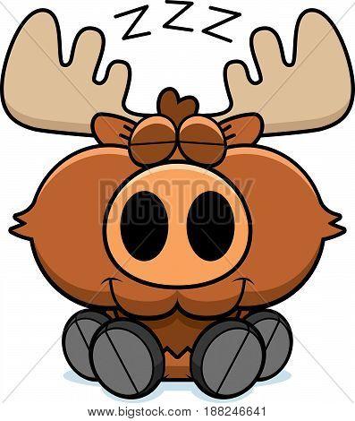 Cartoon Moose Napping