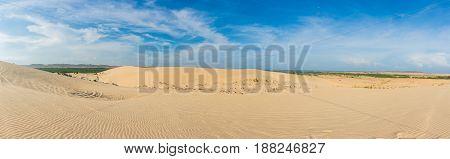 Panorama view. White sand dunes at Mui Ne Vietnam