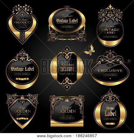 Dark gold - framed labels - vector set