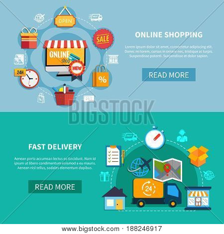 Two horizontal ecommerce banner set with online shopping fast delivery descriptions and read more buttons vector illustration