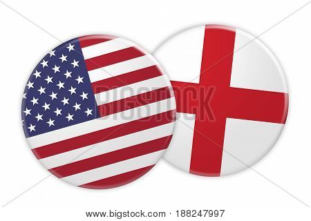 US News Concept: USA Flag Button On England Flag Button 3d illustration on white background