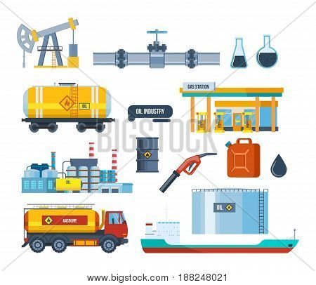 Set of oil industry facilities: an oil plant, equipment for oil production and transportation, storage, drilling rig, tanker truck, platform factory and transportation of gasoline.