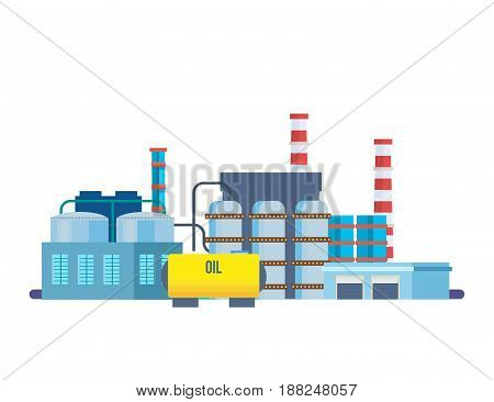 Objects of oil industry. Oil producing plant, with storage of production products, resources in tanks, canisters, cisterns, transportation through pipes. Vector illustration isolated.