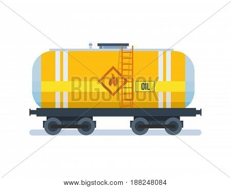Objects of oil industry. Modern freight traffic. Transportation of oil in the wagon. Modern vector illustration isolated on white background.