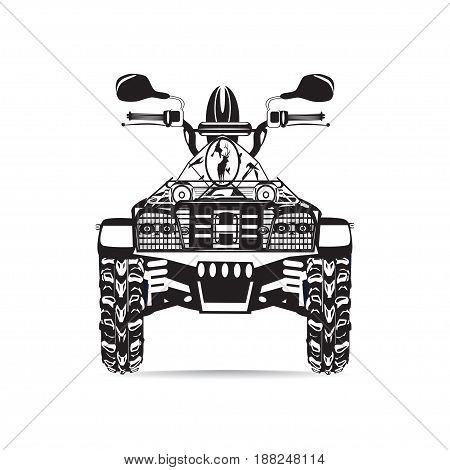 Vector illustration of quad bike isolated on white background. All-terrain vehicle black and white flat style design.