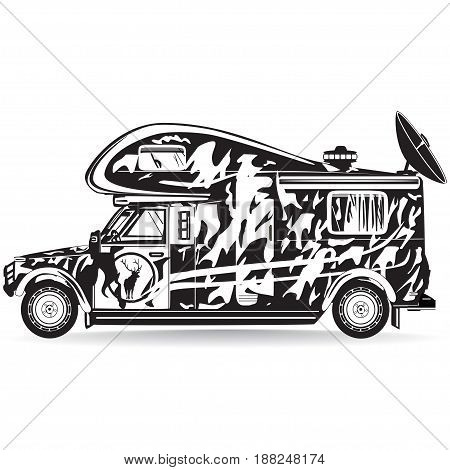 Vector illustration of camper car isolated on white background. Motor home for camping hunting black and white flat style design.