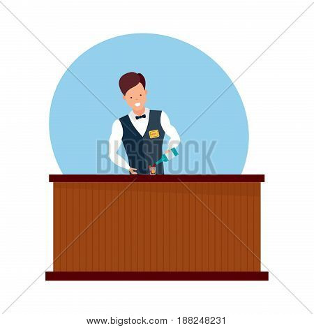 Staff set of sellers. Boy is standing behind the bar, holding the bottle and preparing cocktails, in the barman's branded clothes. Modern vector illustration isolated on white background.