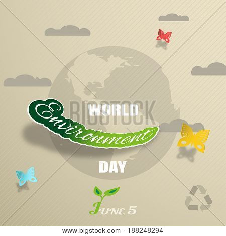Vector greeting paper craft of World Environment Day on the gradient brown background with blue globe silhouette clouds shadow butterflies and text.