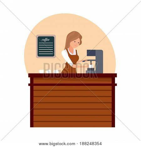 Staff set of sellers. The girl is a barista in branded clothes near the coffee machine is preparing a drink, behind the counter. Modern vector illustration isolated on white background.