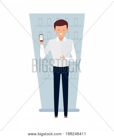 Staff set of sellers. The seller the adviser of interior of cellular communication. Young man in pants and white shirt shows mobile phone. Modern vector illustration isolated on white background.