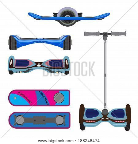 Vector set of self-balanced electric scooters hoverboard. Segway icons isolated on white background.