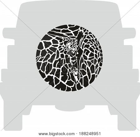 Vector label on a spare wheel cover - Zebra, animal background