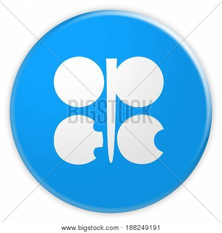 News Concept Badge: OPEC Flag Button 3d illustration on white background