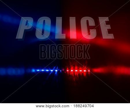 Police Text Over Red And Blue Lights