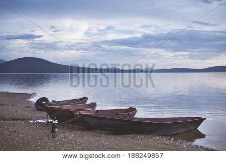Boats. Lake Zyuratkul. Ural. Russia