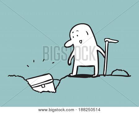 The treasure hunter, Simple man cartoon, Doodle vector illustration.