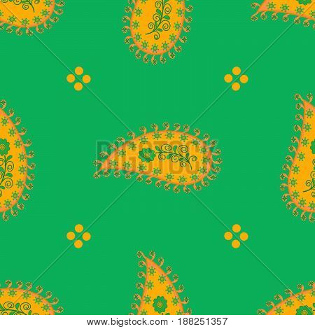Seamless floral abstract pattern orange paisley on spring green background hand drawn ornament swirl details fabric quilting wrapping paper wallpaper