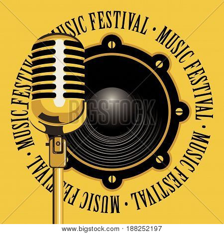 vector banner with acoustic speaker microphone and the words music festival written around on yellow background