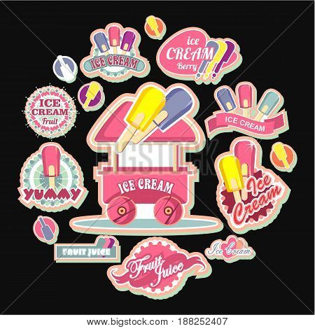 Vector emblems ice cream badges signs for shopping tents stores design elements on a black background in a flat flette style
