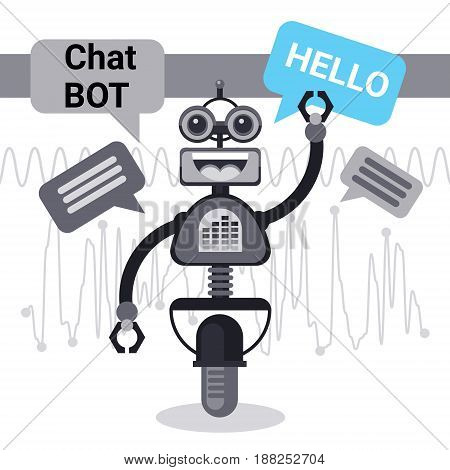 Free Chat Bot Says Hello, Robot Virtual Assistance Element Of Website Or Mobile Applications, Artificial Intelligence Concept Vector Illustration