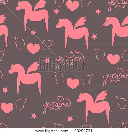 Seamless surface pattern romantic valentine girlish love pegasus hourse with wings heart caligraphic lettering in french je t'aime pink dark purlple fabric wallpaper quilt scrapbooking cellphone cover hand drawn doodle