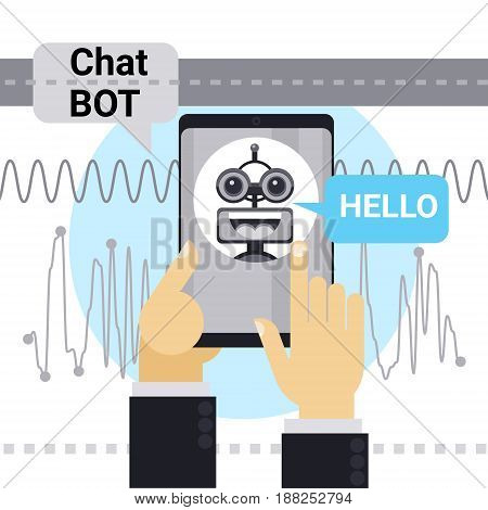 Man Chatting With Chat Bot On Cell Smart Phone, Robot Virtual Assistance Element Of Website Or Mobile Applications Vector Illustration