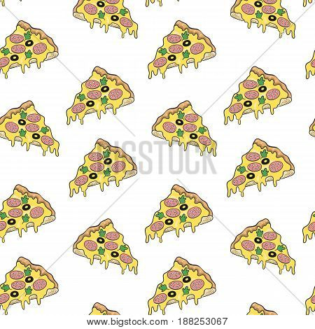 Pizza seamless pattern on white background. Vector illustration.