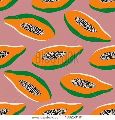 Seamless tropical pattern orange halved papaya on pink background hand drawn fabric wrapping paper phone cover calico style modern trendy design