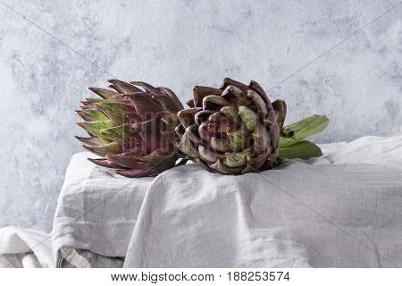 Uncooked whole organic wet purple artichokes on white tablecloth over gray texture background.
