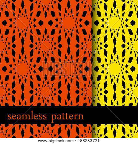 set of two orange and yellow seamless pattern with abstract flower. vector