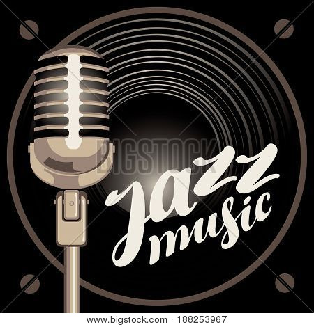 vector banner with acoustic speaker microphone and the inscription jazz music