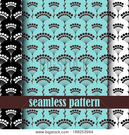 set of abstract seamless pattern with abstract dandelion . vector.