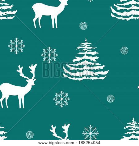 Seamless Christmas pattern hand drawn realistic reindeers fir trees snowflakes white silhouette on turquoise background fabric wallpaper gift wrapping stationary embroidery surface design festive