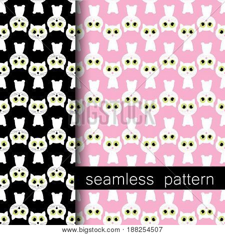 set of black and pink seamless pattern with cat. vector