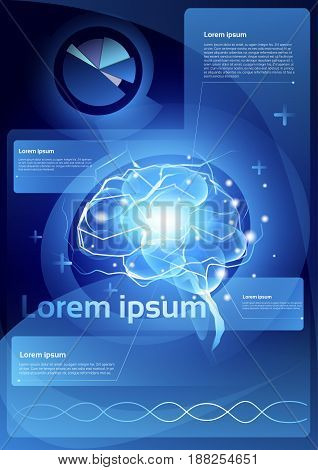 Brain Neurons Activity Medicine Thinking Intelligence Concept Infographics Banner With Copy Space Flat Vector Illustration