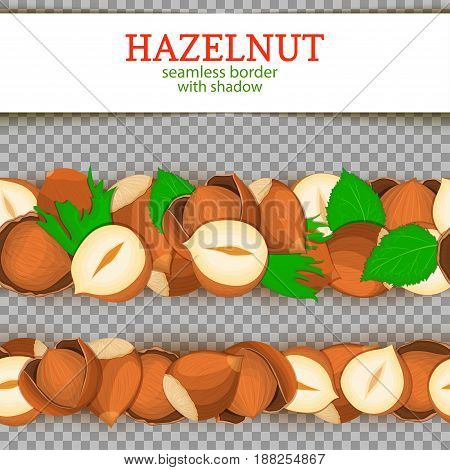 Hazelnut Horizontal seamless border. Vector illustration card. Wide and narrow endless strip with walnut nut fruit in the shell whole shelled leaves with shadow transparent. Infinite nut border
