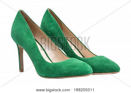Female geen suede shoes, isolated on white background