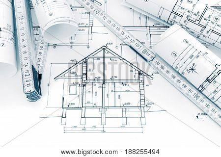 Rolls Of Technical Drawings With Plans And Blueprints For House Renovation