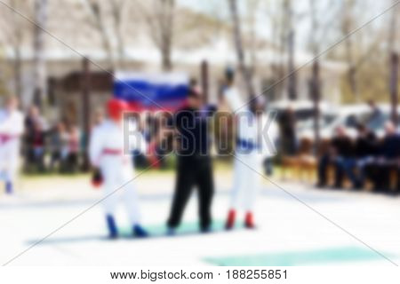 Blurred abstract background can be an illustration to an article about sports and wrestling