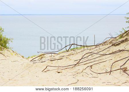 Nida - Curonian Spit and Curonian Lagoon Nida Klaipeda Lithuania. Nida harbour. Baltic Dunes. Unesco heritage.