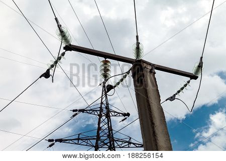 High resistance to electric networks. The metal pillar against the sky.