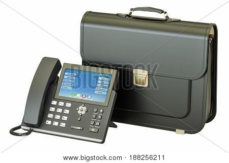 IP Phone with briefcase business concept. 3D rendering isolated on white background