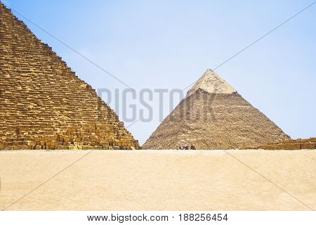 Pyramid of Khafre. View of the Giza Pyramids. Egypt. Cairo