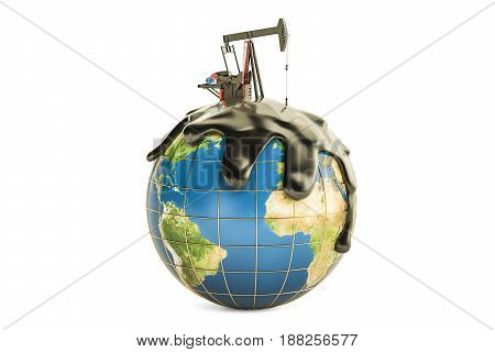 Pumpjack with crude oil on the Earth globe oil production concept. 3D rendering isolated on the white background